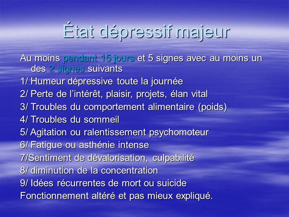État dépressif majeur Au moins pendant 15 jours et 5 signes avec au moins un des 2 signes suivants 1/ Humeur dépressive toute la journée 2/ Perte de l