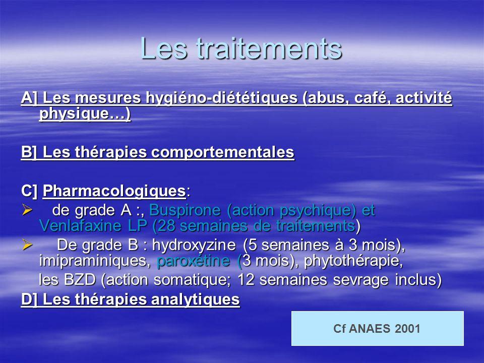 Les traitements A] Les mesures hygiéno-diététiques (abus, café, activité physique…) B] Les thérapies comportementales C] Pharmacologiques: de grade A