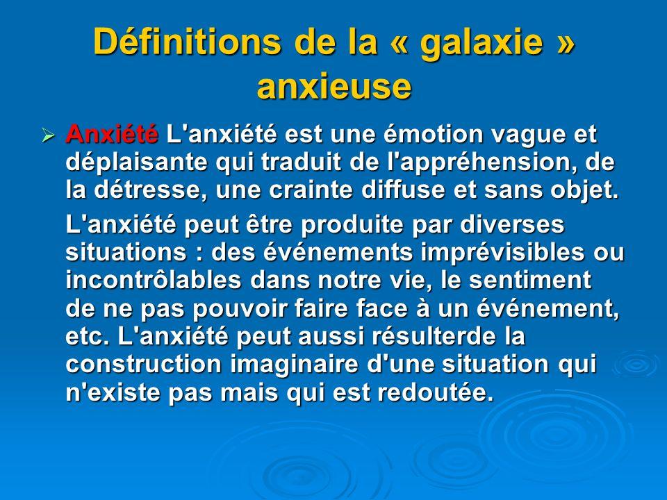 Définitions de la « galaxie » anxieuse Anxiété L'anxiété est une émotion vague et déplaisante qui traduit de l'appréhension, de la détresse, une crain
