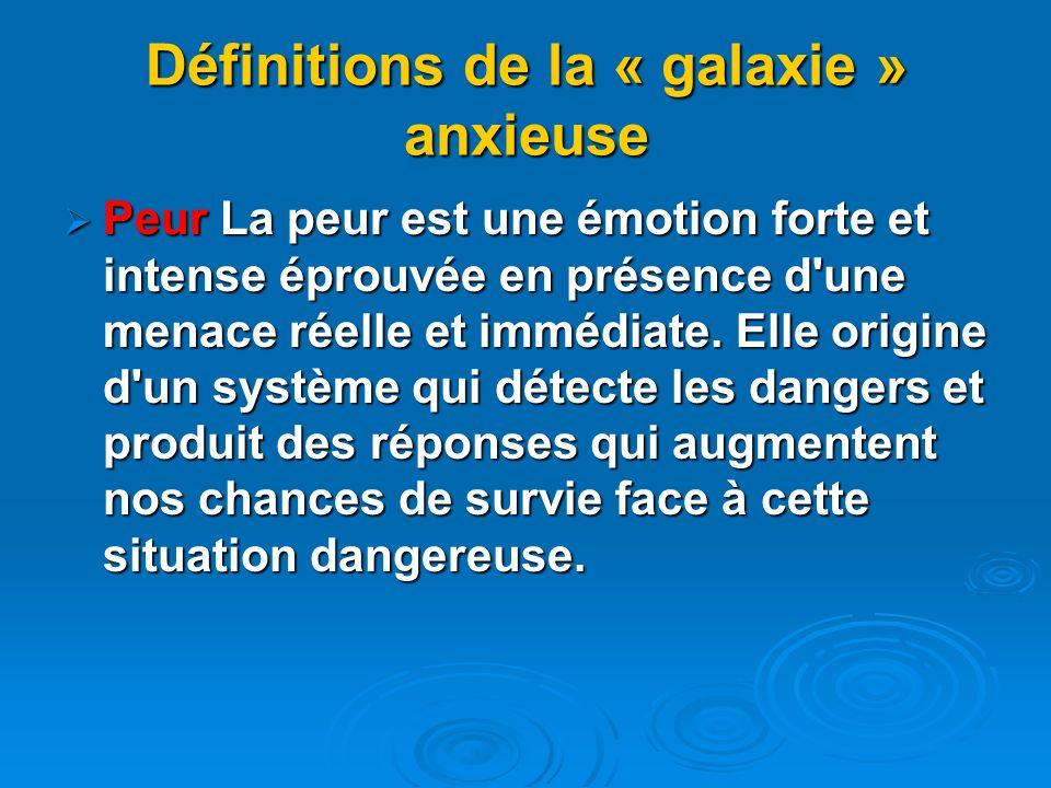 Définitions de la « galaxie » anxieuse Peur La peur est une émotion forte et intense éprouvée en présence d'une menace réelle et immédiate. Elle origi
