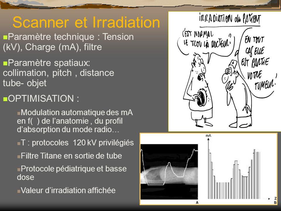 Scanner et Irradiation Paramètre technique : Tension (kV), Charge (mA), filtre Paramètre spatiaux: collimation, pitch, distance tube- objet OPTIMISATI
