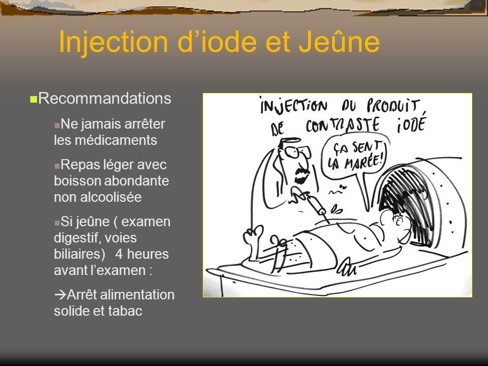 Iode et insuffisance rénale (1) Risque de néphrotoxicité si facteur de risques associés: Insuffisance rénale préexistante Diabète Hypoperfusion rénale (déhydratation, cirrhose, insuffisance cardiaque…) Médicaments néphrotoxiques (AINS, Coxib, Diurétiques, Platines… Myélome avec protéinurie Injection de PCI dans les 3 jours précédents âge