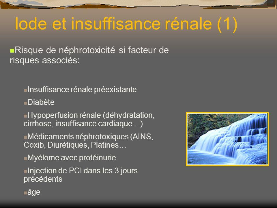 Iode et insuffisance rénale (1) Risque de néphrotoxicité si facteur de risques associés: Insuffisance rénale préexistante Diabète Hypoperfusion rénale
