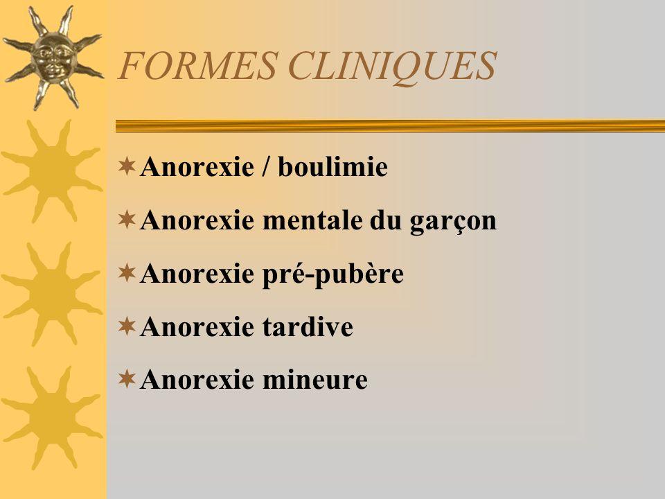 FORMES CLINIQUES Anorexie / boulimie Anorexie mentale du garçon Anorexie pré-pubère Anorexie tardive Anorexie mineure