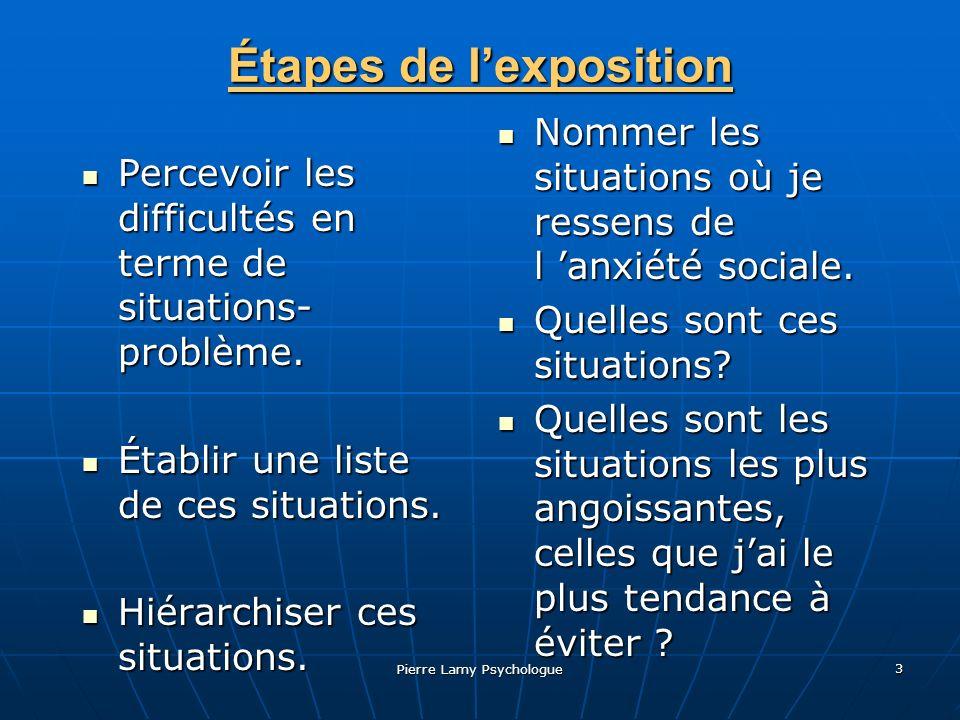Pierre Lamy Psychologue 4 Étapes de lexposition (suite) Préparer laffrontement avec ces situations.