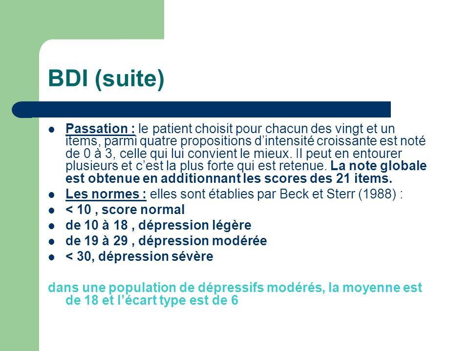 BDI (suite) Passation : le patient choisit pour chacun des vingt et un items, parmi quatre propositions dintensité croissante est noté de 0 à 3, celle