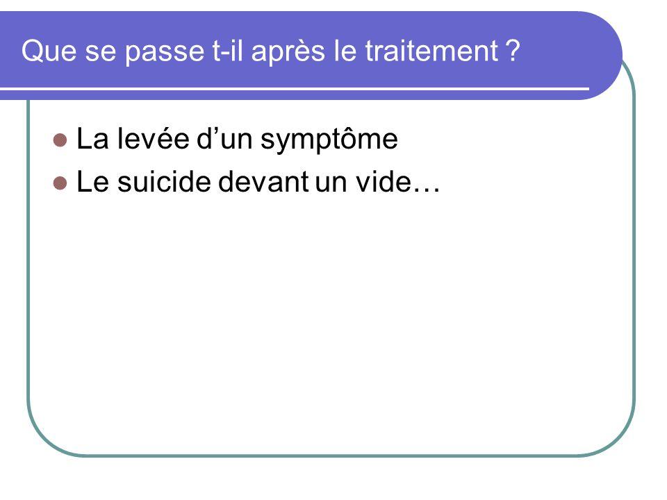 Que se passe t-il après le traitement ? La levée dun symptôme Le suicide devant un vide…
