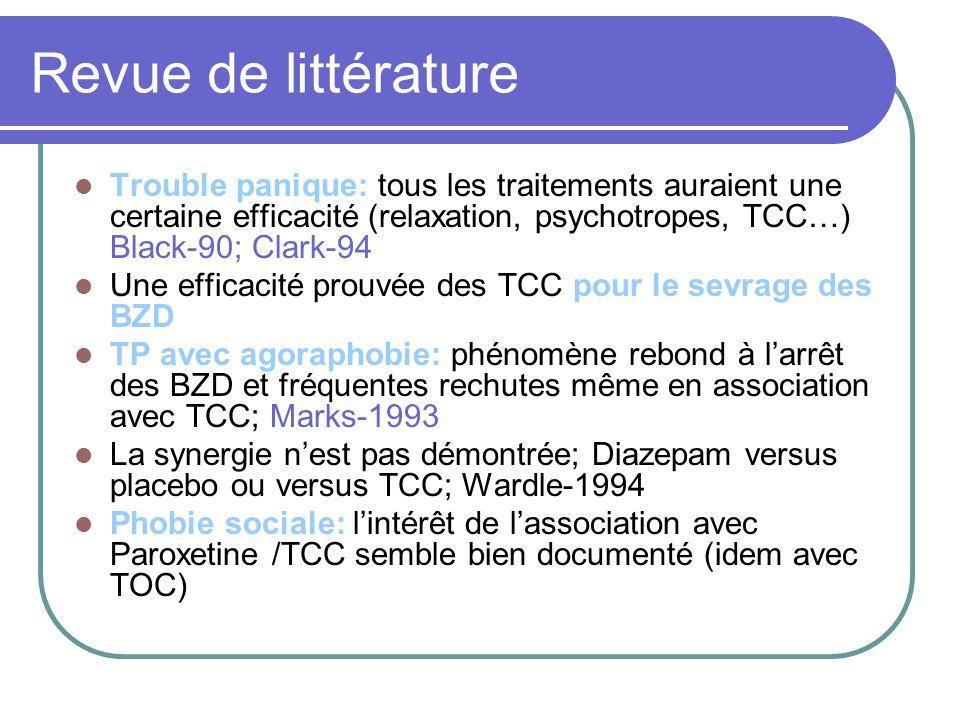 Revue de littérature Trouble panique: tous les traitements auraient une certaine efficacité (relaxation, psychotropes, TCC…) Black-90; Clark-94 Une efficacité prouvée des TCC pour le sevrage des BZD TP avec agoraphobie: phénomène rebond à larrêt des BZD et fréquentes rechutes même en association avec TCC; Marks-1993 La synergie nest pas démontrée; Diazepam versus placebo ou versus TCC; Wardle-1994 Phobie sociale: lintérêt de lassociation avec Paroxetine /TCC semble bien documenté (idem avec TOC)