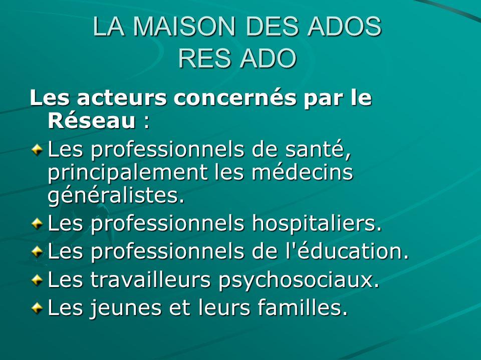 LA MAISON DES ADOS RES ADO Les acteurs concernés par le Réseau : Les professionnels de santé, principalement les médecins généralistes. Les profession