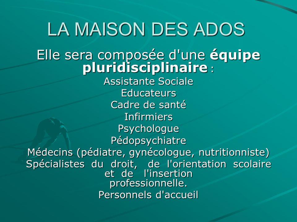 LA MAISON DES ADOS Elle sera composée d'une équipe pluridisciplinaire : Assistante Sociale Educateurs Cadre de santé InfirmiersPsychologuePédopsychiat