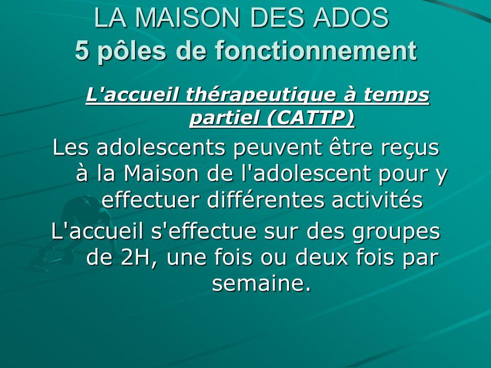 LA MAISON DES ADOS 5 pôles de fonctionnement L'accueil thérapeutique à temps partiel (CATTP) Les adolescents peuvent être reçus à la Maison de l'adole