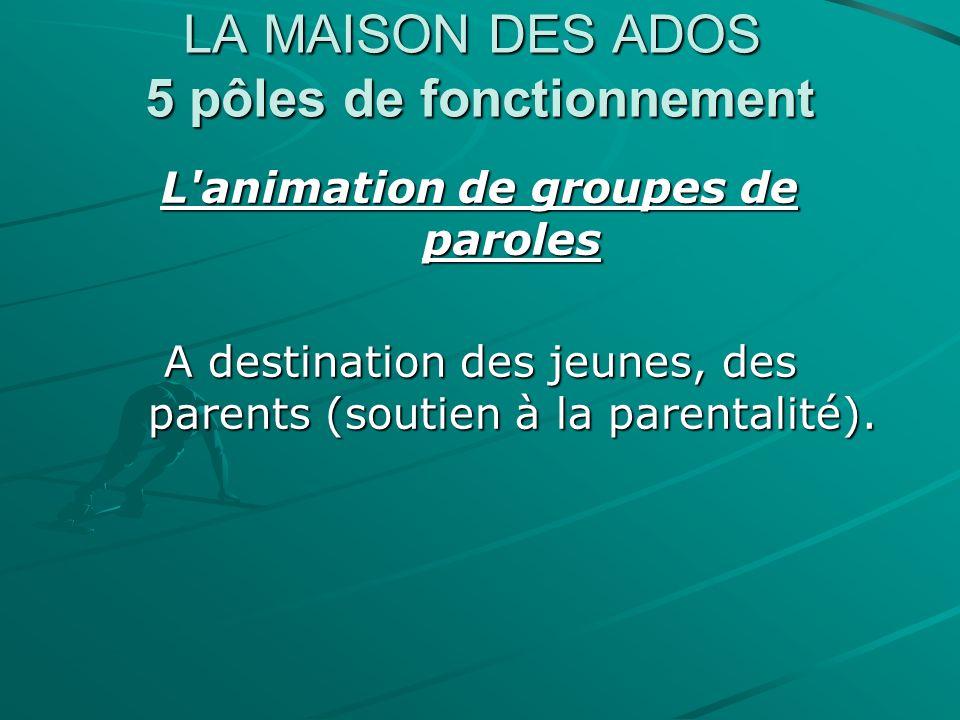 LA MAISON DES ADOS 5 pôles de fonctionnement L'animation de groupes de paroles A destination des jeunes, des parents (soutien à la parentalité).