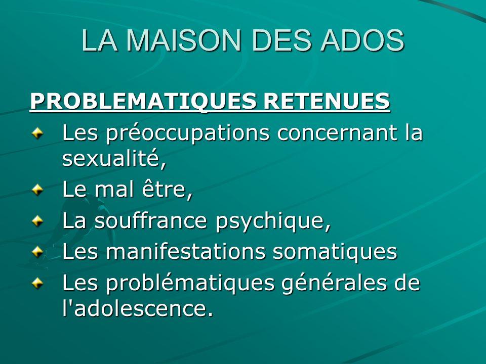 LA MAISON DES ADOS RES ADO Les acteurs concernés par le Réseau : Les professionnels de santé, principalement les médecins généralistes.