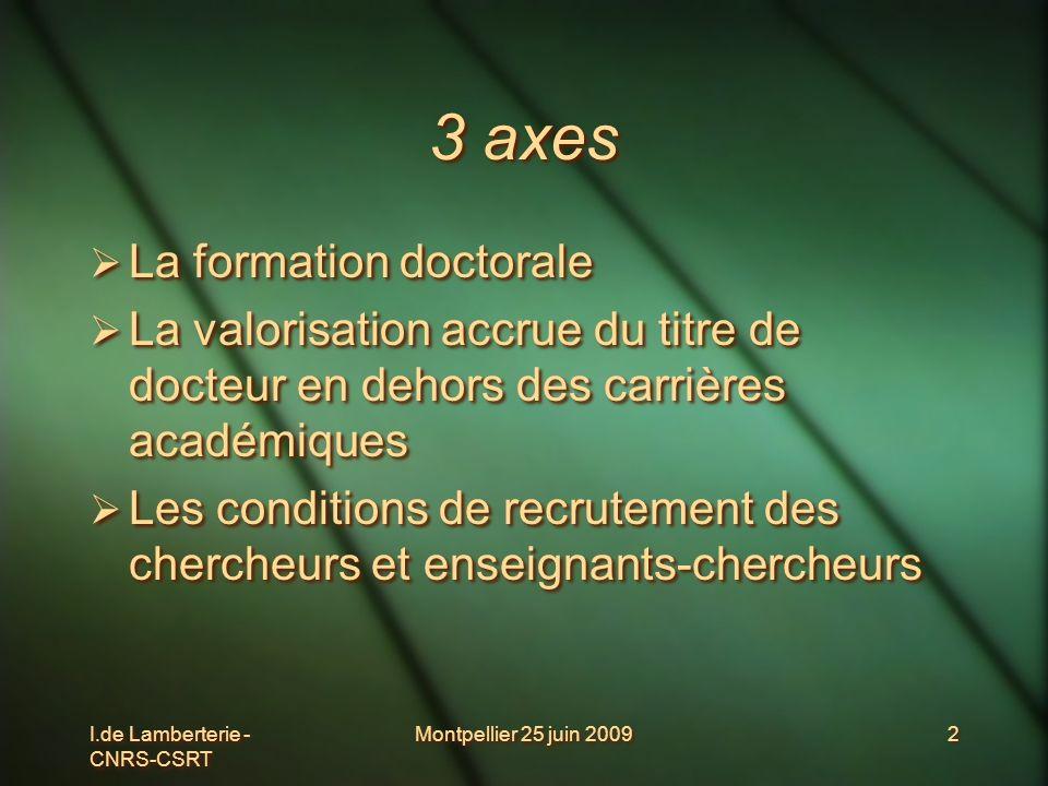 I.de Lamberterie - CNRS-CSRT Montpellier 25 juin 20092 3 axes La formation doctorale La valorisation accrue du titre de docteur en dehors des carrière