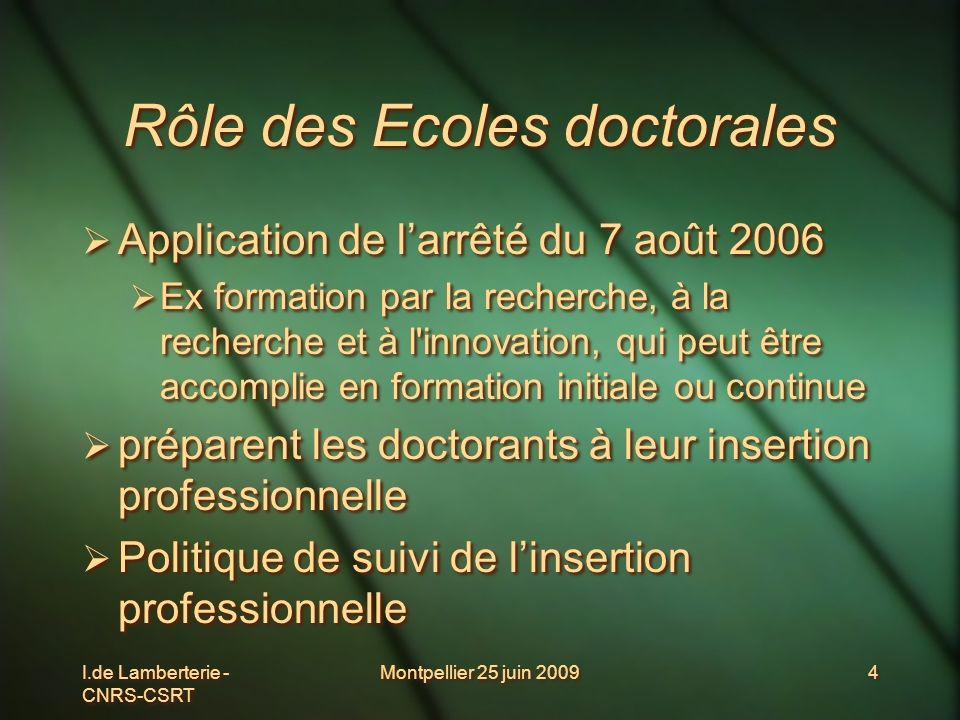 I.de Lamberterie - CNRS-CSRT Montpellier 25 juin 20094 Rôle des Ecoles doctorales Application de larrêté du 7 août 2006 Ex formation par la recherche,