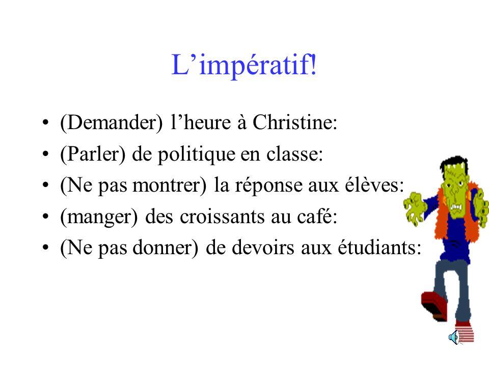 Avec un infinitif Brigitte va donner ces romans à Luc: Ton ami ne va pas montrer sa voiture aux filles: Elle va vendre le nouveau livre aux élèves: Nous allons indiquer la porte aux gens: Il ne va pas parler français à lagent: