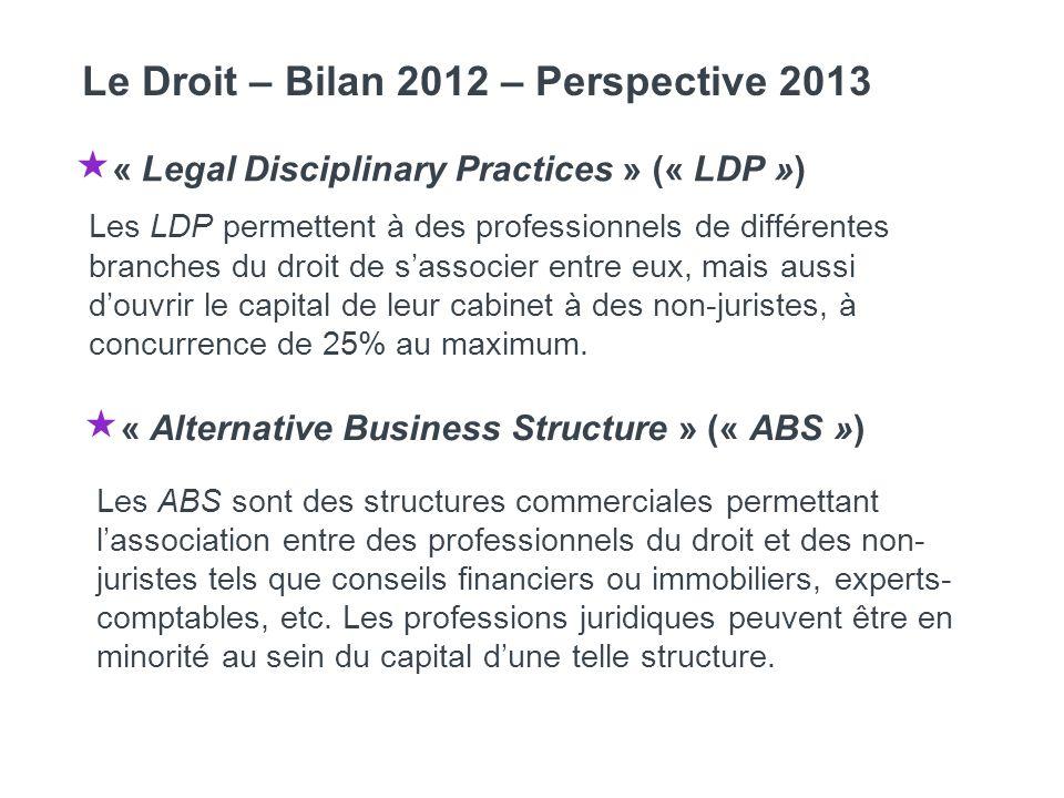 « Legal Disciplinary Practices » (« LDP ») Les LDP permettent à des professionnels de différentes branches du droit de sassocier entre eux, mais aussi douvrir le capital de leur cabinet à des non-juristes, à concurrence de 25% au maximum.