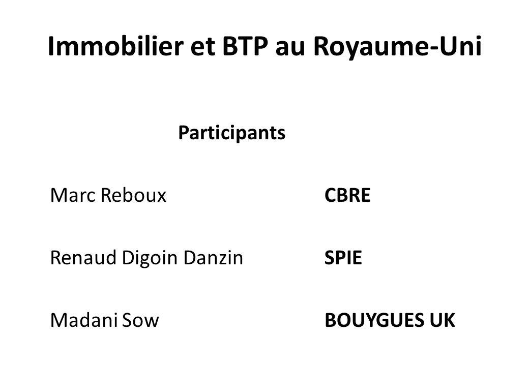 Immobilier et BTP au Royaume-Uni Participants Marc Reboux CBRE Renaud Digoin DanzinSPIE Madani SowBOUYGUES UK