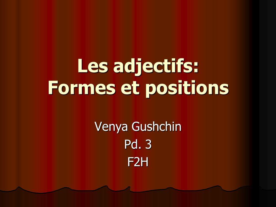 Les adjectifs: Formes et positions Venya Gushchin Pd. 3 F2H