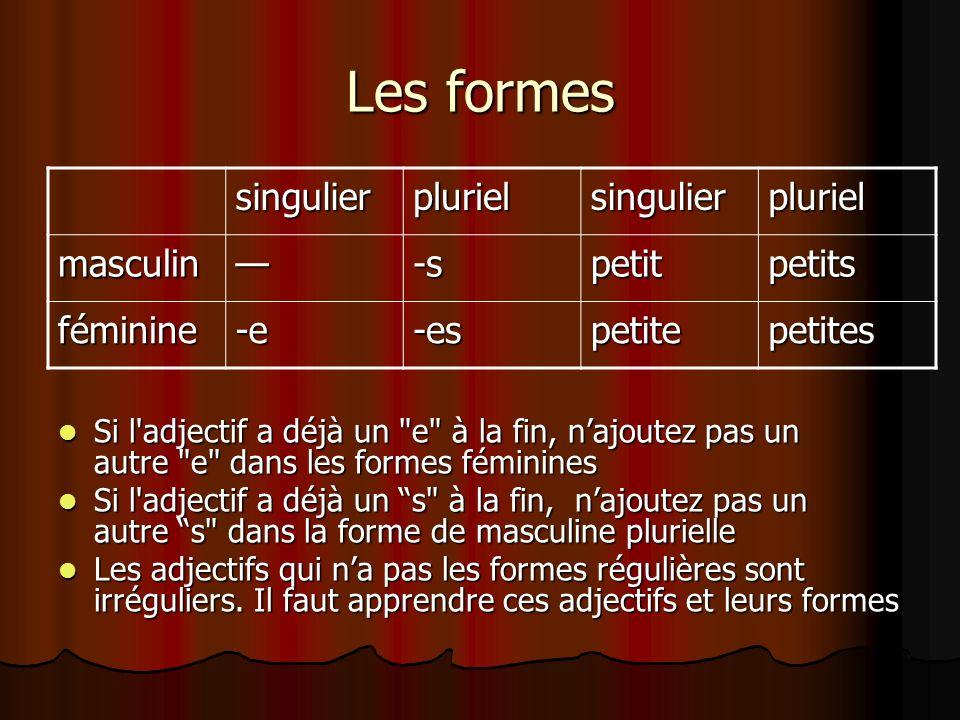 Les formes singulierplurielsingulierpluriel masculin-spetitpetits féminine-e-espetitepetites Si l'adjectif a déjà un