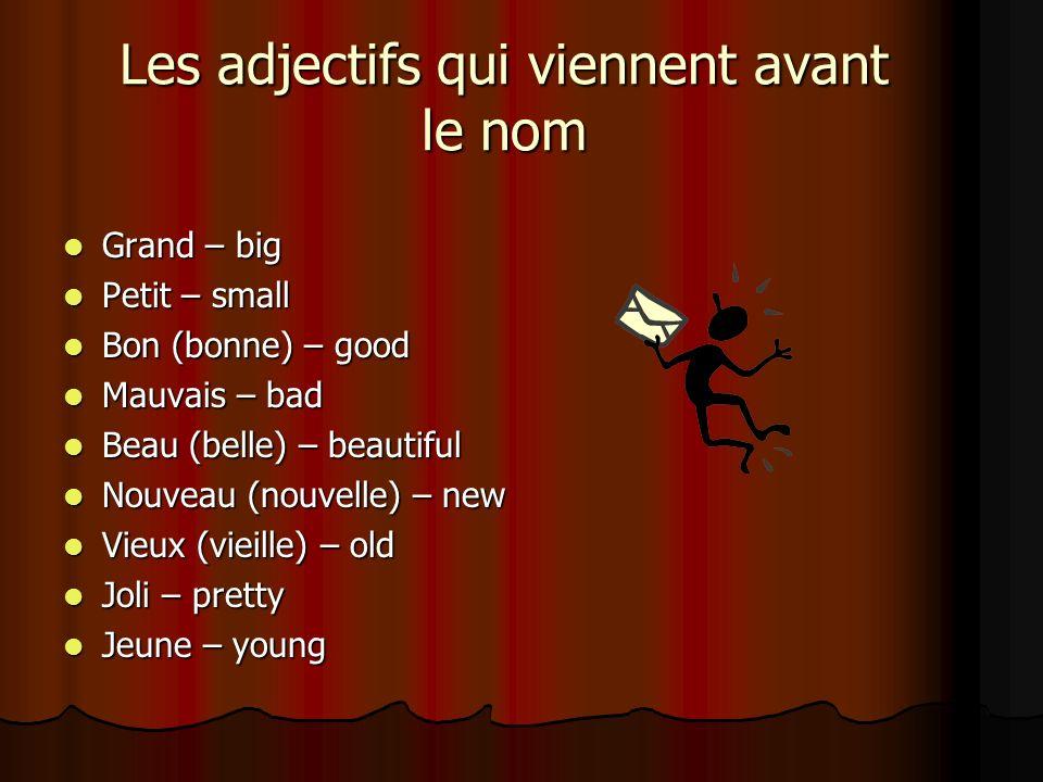 Les adjectifs qui viennent avant le nom Grand – big Grand – big Petit – small Petit – small Bon (bonne) – good Bon (bonne) – good Mauvais – bad Mauvai