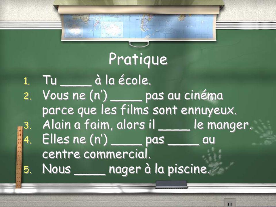 Pratique 1. Tu ____ à la école. 2.