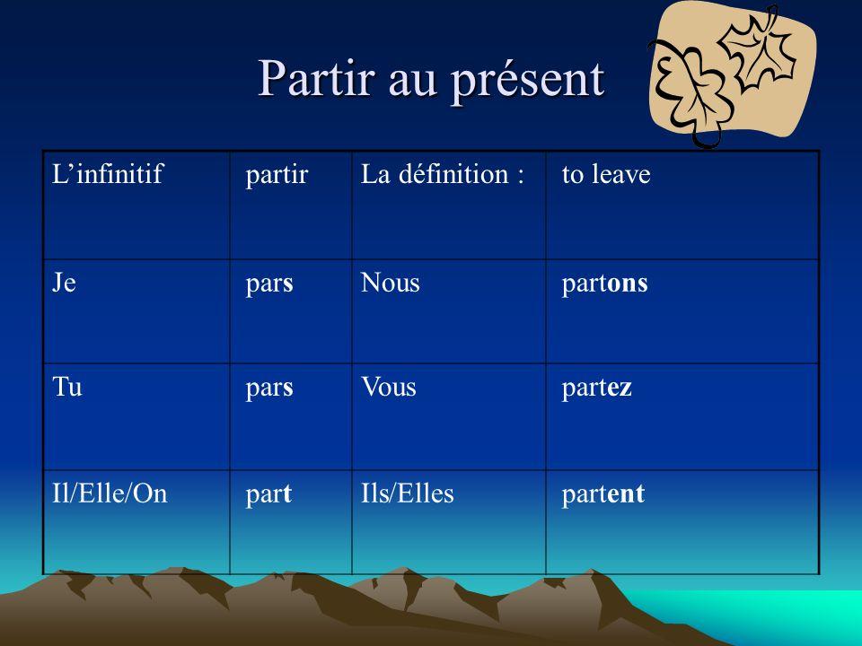 Partir au présent Linfinitif partirLa définition : to leave Je parsNous partons Tu parsVous partez Il/Elle/On partIls/Elles partent