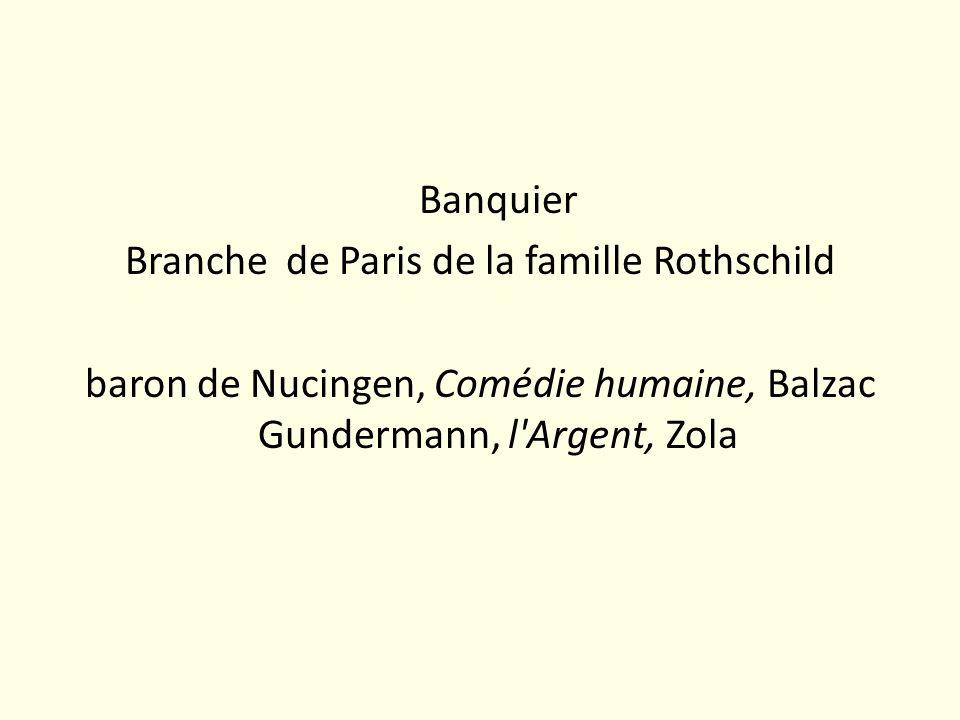 Banquier Branche de Paris de la famille Rothschild baron de Nucingen, Comédie humaine, Balzac Gundermann, l'Argent, Zola
