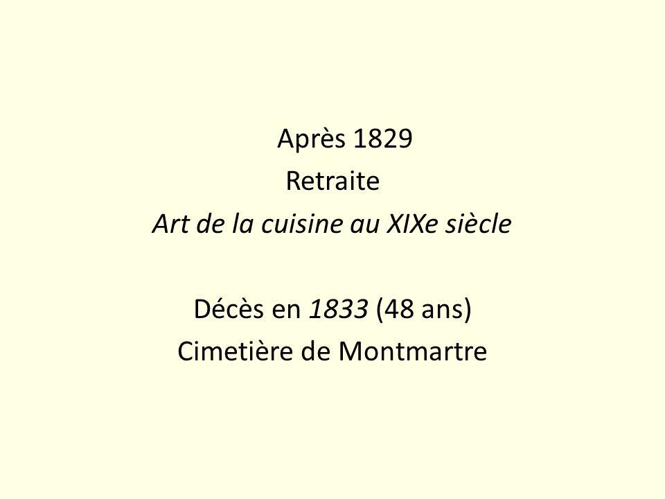 Après 1829 Retraite Art de la cuisine au XIXe siècle Décès en 1833 (48 ans) Cimetière de Montmartre