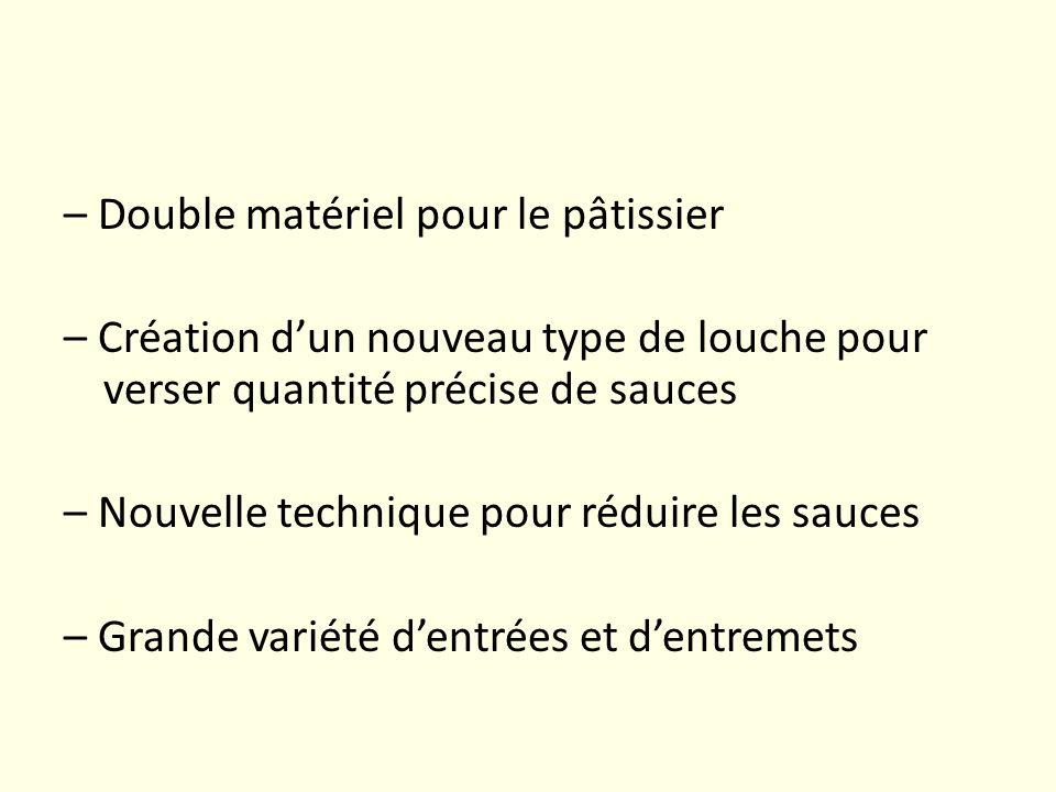 – Double matériel pour le pâtissier – Création dun nouveau type de louche pour verser quantité précise de sauces – Nouvelle technique pour réduire les