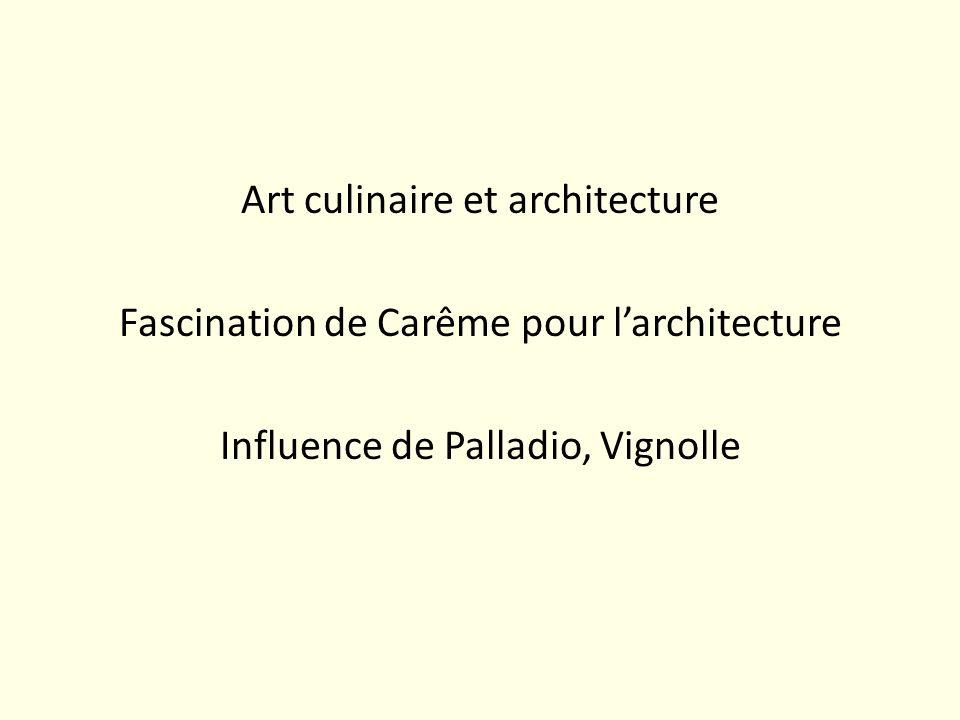 Art culinaire et architecture Fascination de Carême pour larchitecture Influence de Palladio, Vignolle