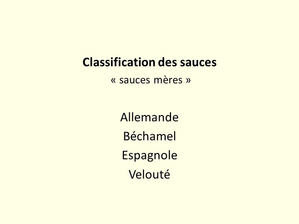 Classification des sauces « sauces mères » Allemande Béchamel Espagnole Velouté