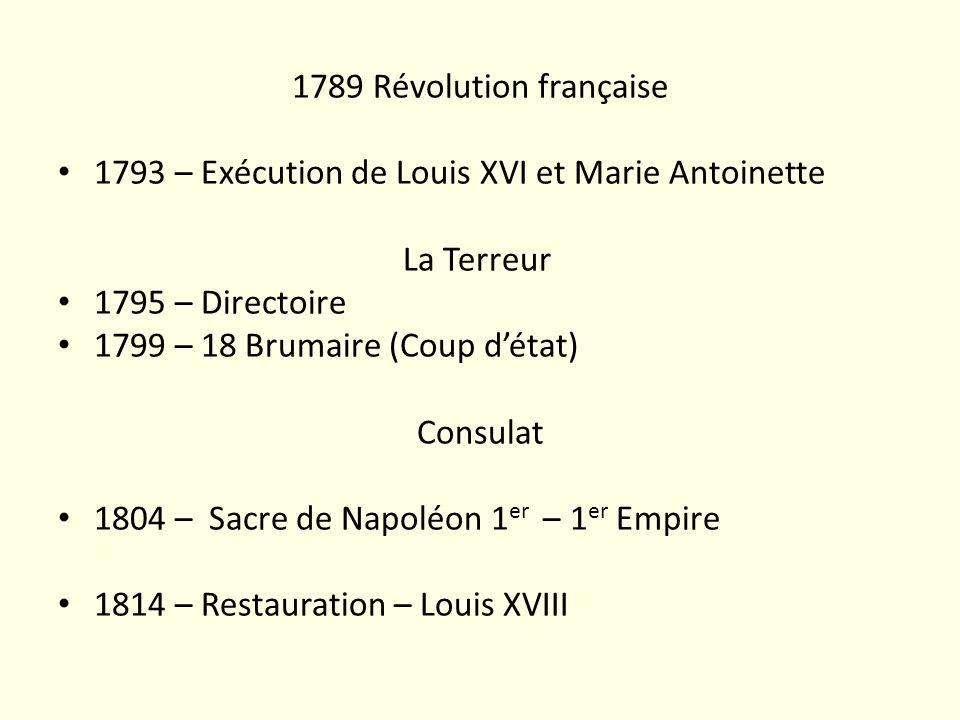 1789 Révolution française 1793 – Exécution de Louis XVI et Marie Antoinette La Terreur 1795 – Directoire 1799 – 18 Brumaire (Coup détat) Consulat 1804