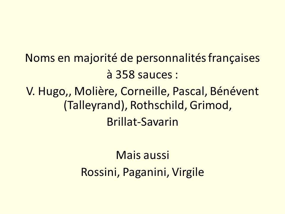 Noms en majorité de personnalités françaises à 358 sauces : V. Hugo,, Molière, Corneille, Pascal, Bénévent (Talleyrand), Rothschild, Grimod, Brillat-S