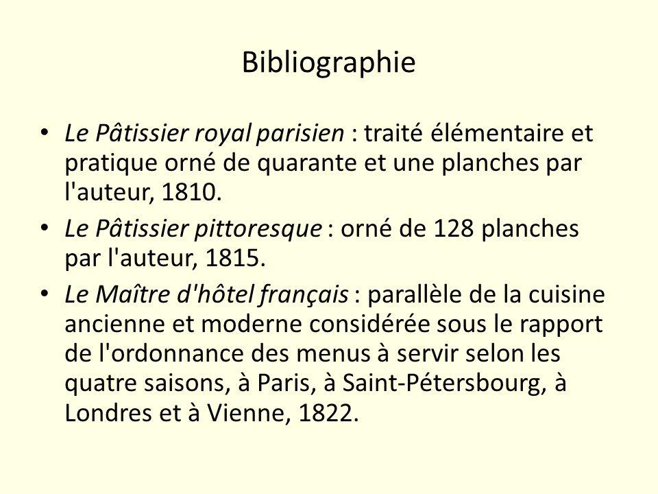 Bibliographie Le Pâtissier royal parisien : traité élémentaire et pratique orné de quarante et une planches par l'auteur, 1810. Le Pâtissier pittoresq