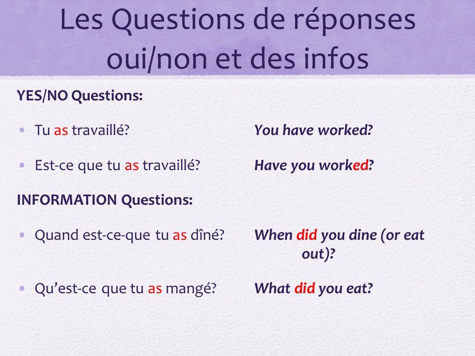 Les Questions de réponses oui/non et des infos YES/NO Questions: Tu as travaillé?You have worked? Est-ce que tu as travaillé?Have you worked? INFORMAT