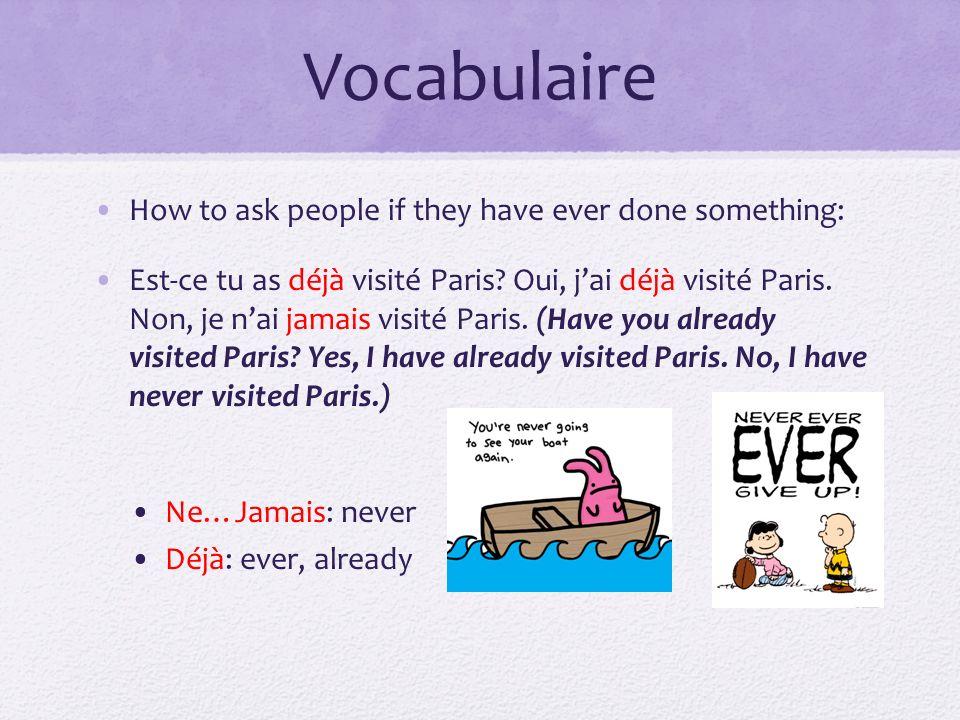Vocabulaire How to ask people if they have ever done something: Est-ce tu as déjà visité Paris? Oui, jai déjà visité Paris. Non, je nai jamais visité