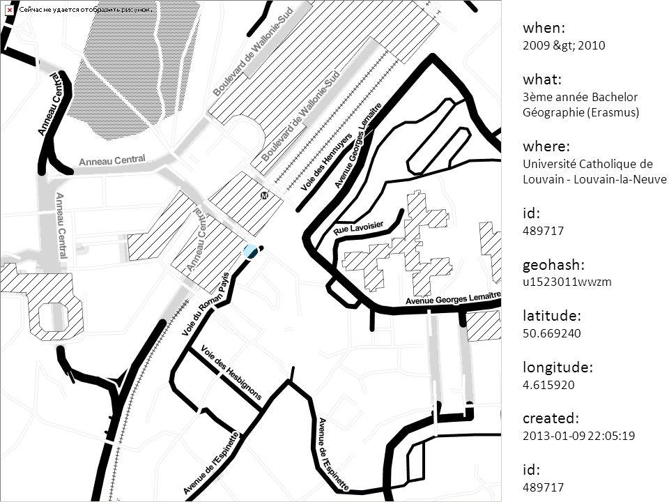 when: 2010 what: Licence Géographie – Aménagement de l espace where: Université Rennes 2 - Rennes id: 489719 geohash: gbwc9pz363p8 latitude: 48.118964 longitude: -1.703804 created: 2013-01-09 22:05:19 id: 489719