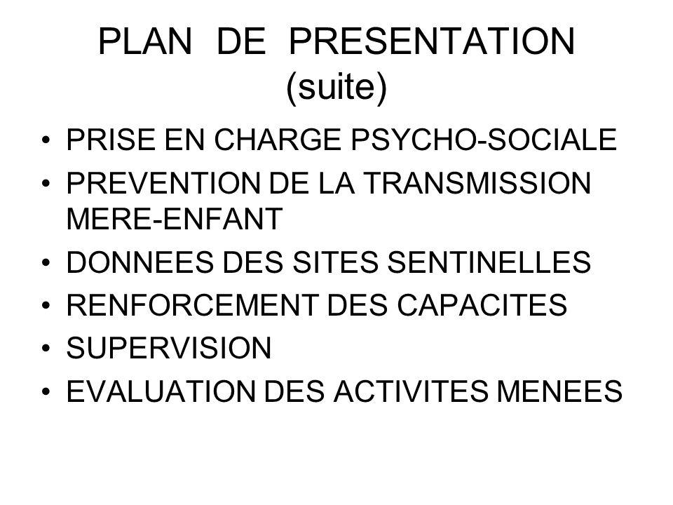 PLAN DE PRESENTATION (suite) PRISE EN CHARGE PSYCHO-SOCIALE PREVENTION DE LA TRANSMISSION MERE-ENFANT DONNEES DES SITES SENTINELLES RENFORCEMENT DES C
