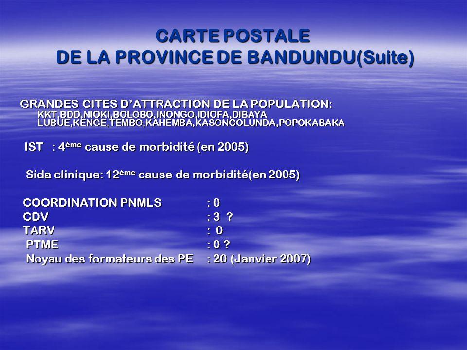 CARTE POSTALE DE LA PROVINCE DE BANDUNDU(Suite) GRANDES CITES DATTRACTION DE LA POPULATION: KKT,BDD,NIOKI,BOLOBO,INONGO,IDIOFA,DIBAYA LUBUE,KENGE,TEMB