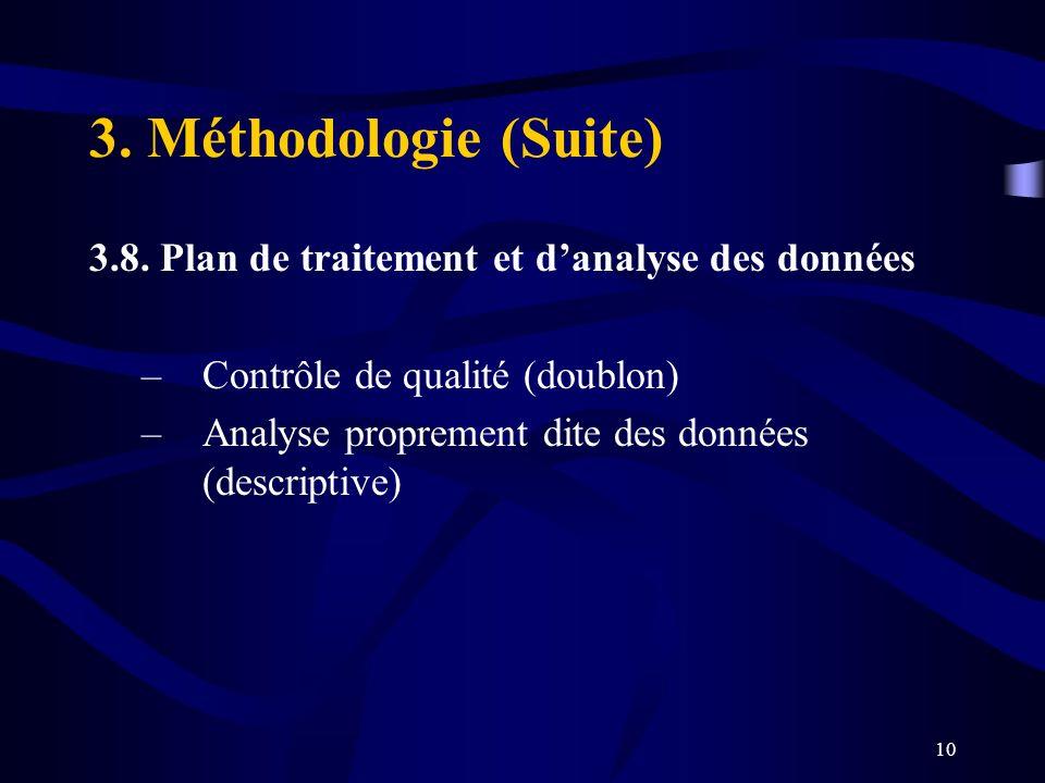 10 3.8. Plan de traitement et danalyse des données –Contrôle de qualité (doublon) –Analyse proprement dite des données (descriptive) 3. Méthodologie (