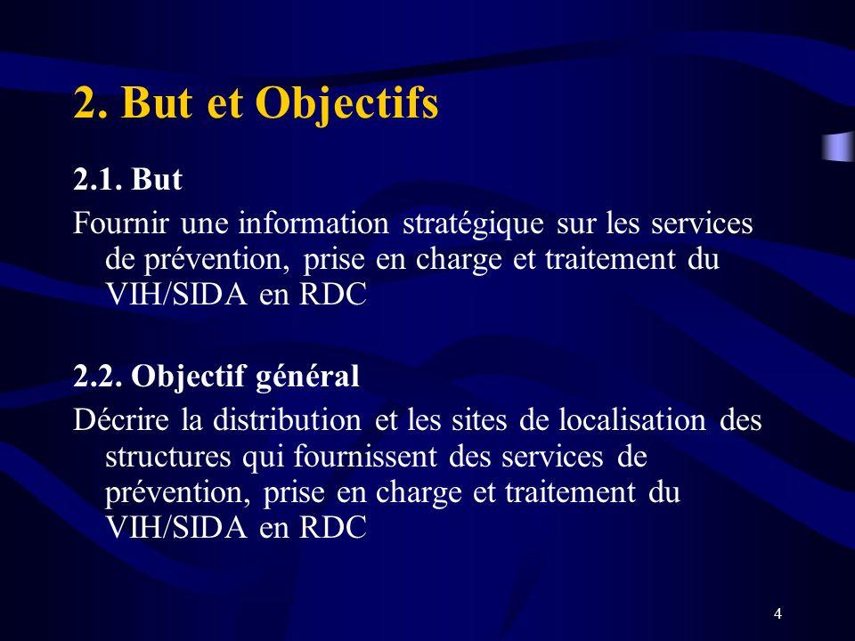 4 2. But et Objectifs 2.1. But Fournir une information stratégique sur les services de prévention, prise en charge et traitement du VIH/SIDA en RDC 2.