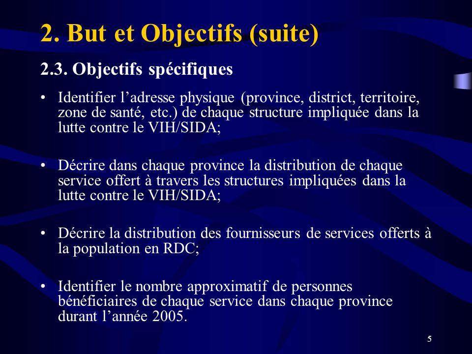 5 2. But et Objectifs (suite) 2.3. Objectifs spécifiques Identifier ladresse physique (province, district, territoire, zone de santé, etc.) de chaque