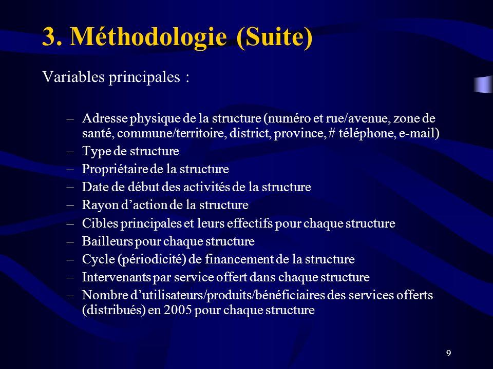 9 Variables principales : –Adresse physique de la structure (numéro et rue/avenue, zone de santé, commune/territoire, district, province, # téléphone,