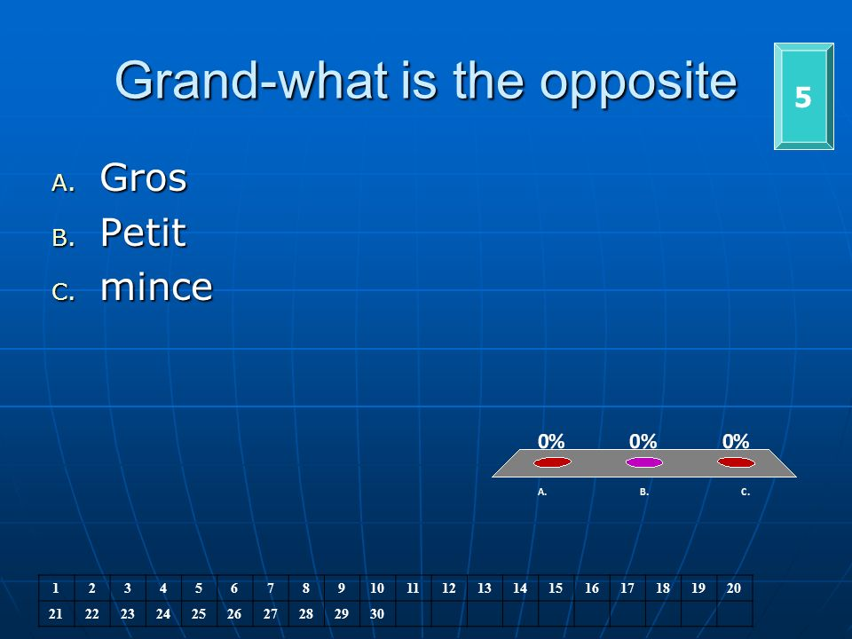 Grand-what is the opposite 5 A. Gros B. Petit C.