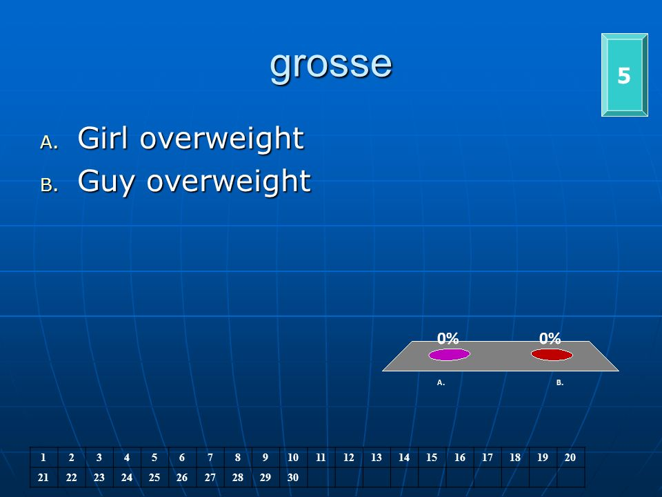 grosse 5 A. Girl overweight B. Guy overweight 1234567891011121314151617181920 21222324252627282930