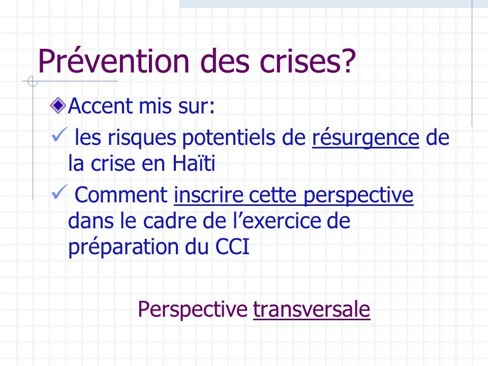 Prévention des crises.