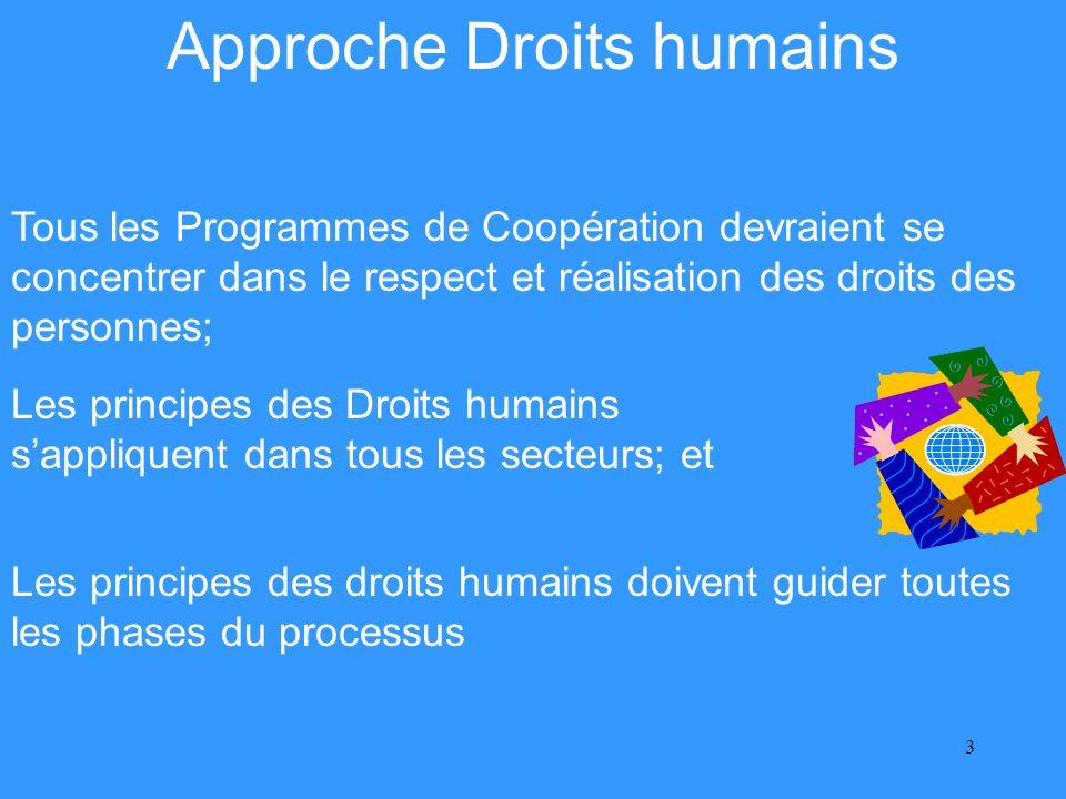 3 Approche Droits humains Les principes des droits humains doivent guider toutes les phases du processus Les principes des Droits humains sappliquent dans tous les secteurs; et Tous les Programmes de Coopération devraient se concentrer dans le respect et réalisation des droits des personnes;