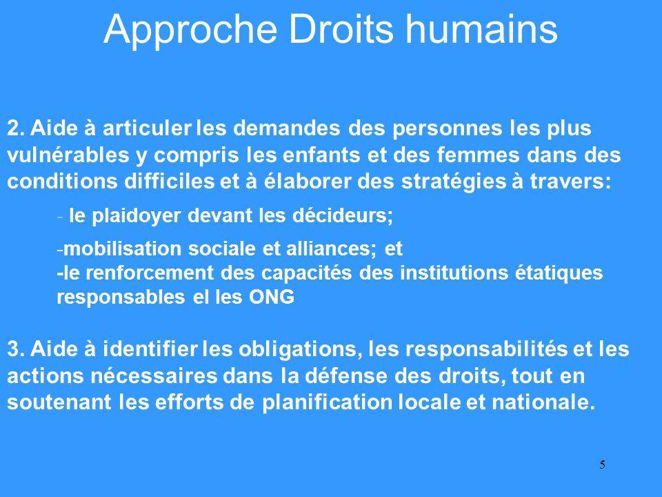 6 Approche Droits humains - lassistance dans la planification, la coordination et la mise en oeuvre des activités.