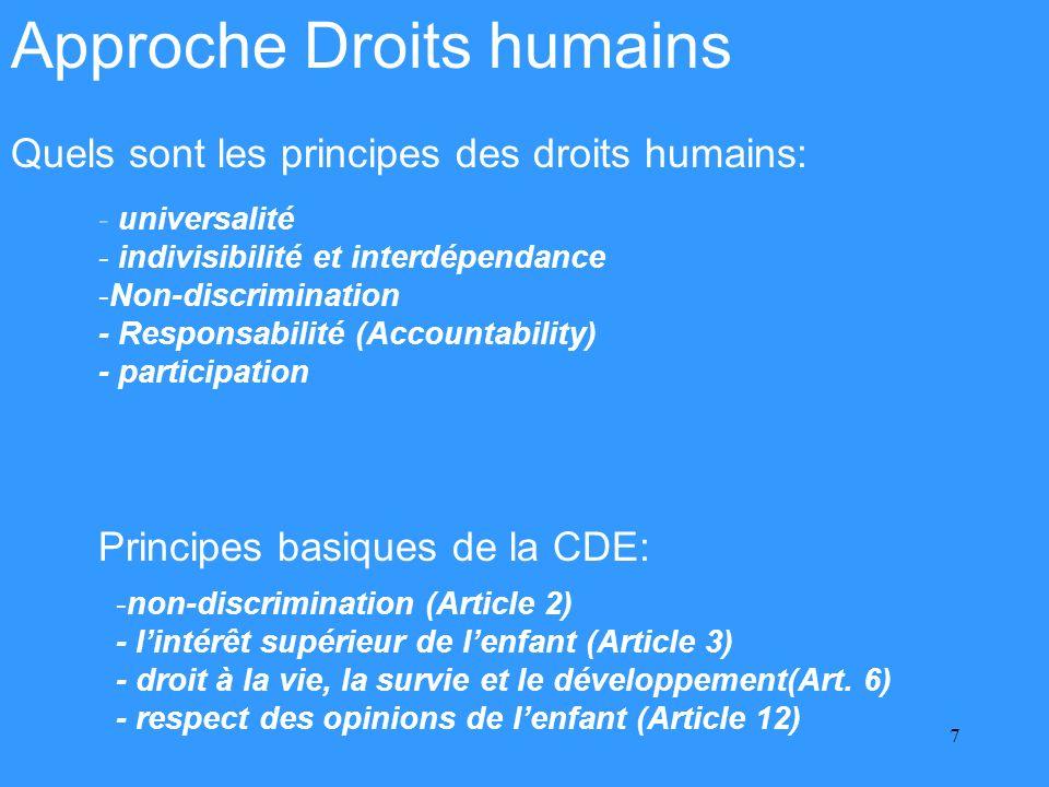8 Considérations importantes -Définir les priorités -Cadre légal et institutionnel (Instruments ratifiés?) -Politique publiques et dans leur élaboration -La personne comme sujet de droits -Quels sont les responsables des droits (ou des services) -Quels sont les sujets des droits (bénéficières) -Quels sont les mécanismes dexigibilité -Participation - Efficacité - Continuité - Rapports au Comité DH, DE et au CEDAW -- Approche holistique - Alliances/Partenariat
